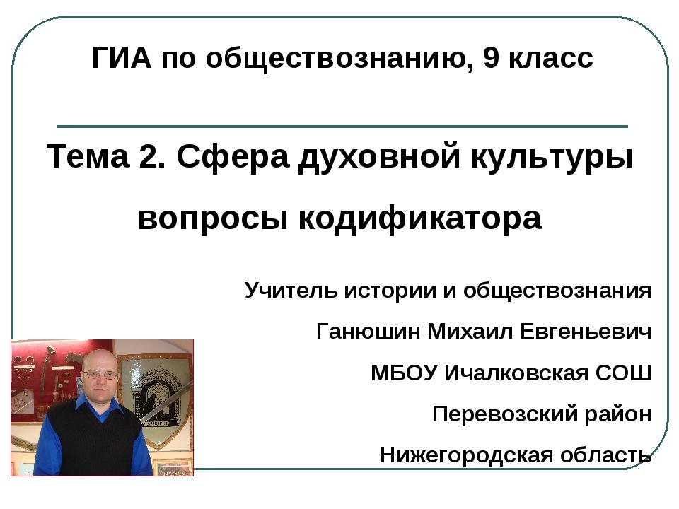 ГИА по обществознанию, 9 класс Тема 2. Сфера духовной культуры вопросы кодифи...