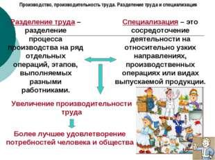 Производство, производительность труда. Разделение труда и специализация Разд