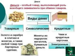 Деньги Деньги – особый товар, выполняющий роль всеобщего эквивалента при обме