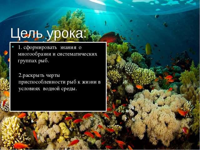 Цель урока: 1. сформировать знания о многообразии и систематических группах р...