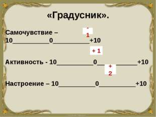 «Градусник». Самочувствие –10__________0__________+10 Активность - 10________