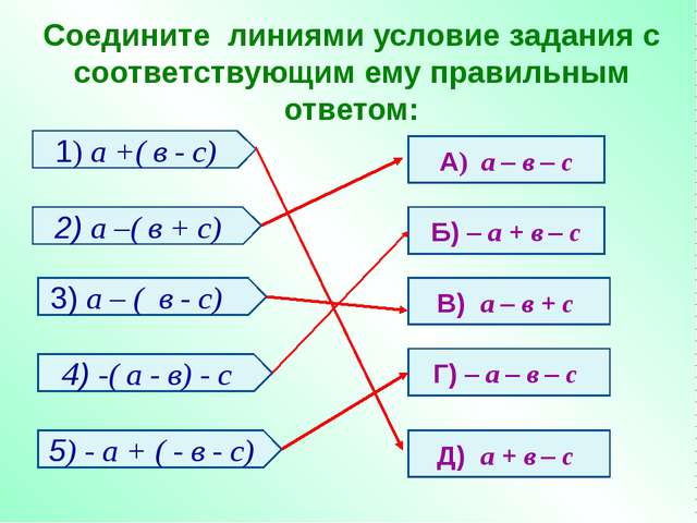 Соедините линиями условие задания с соответствующим ему правильным ответом: 1...