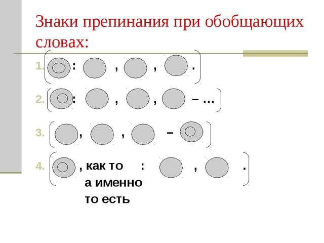 Знаки препинания при обобщающих словах: : , , . : , , – … , , – , как то : ,...