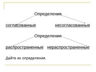 Определения согласованные несогласованные Определения распространенные нерасп