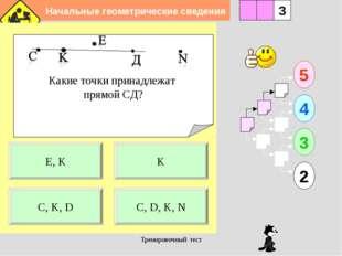 Начальные геометрические сведения Тренировочный тест Какие точки принадлежат