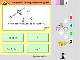 Начальные геометрические сведения Тренировочный тест Какие из точек лежат вн