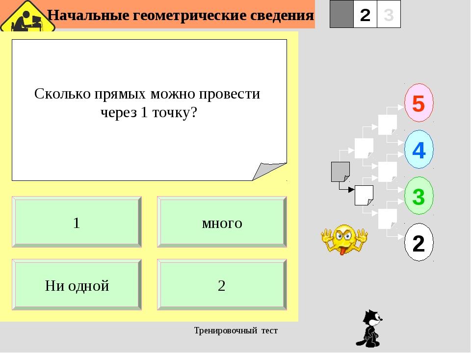 Начальные геометрические сведения Тренировочный тест Сколько прямых можно пр...