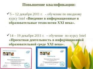 Повышение квалификации: 5 – 12 декабря 2011 г. - обучение по вводному курсу I