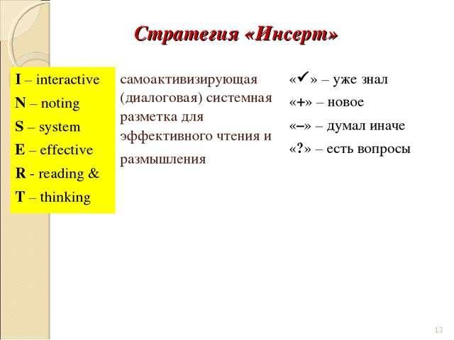 Стратегия «Инсерт» * I – interactive N – noting S – system E – effective R -...