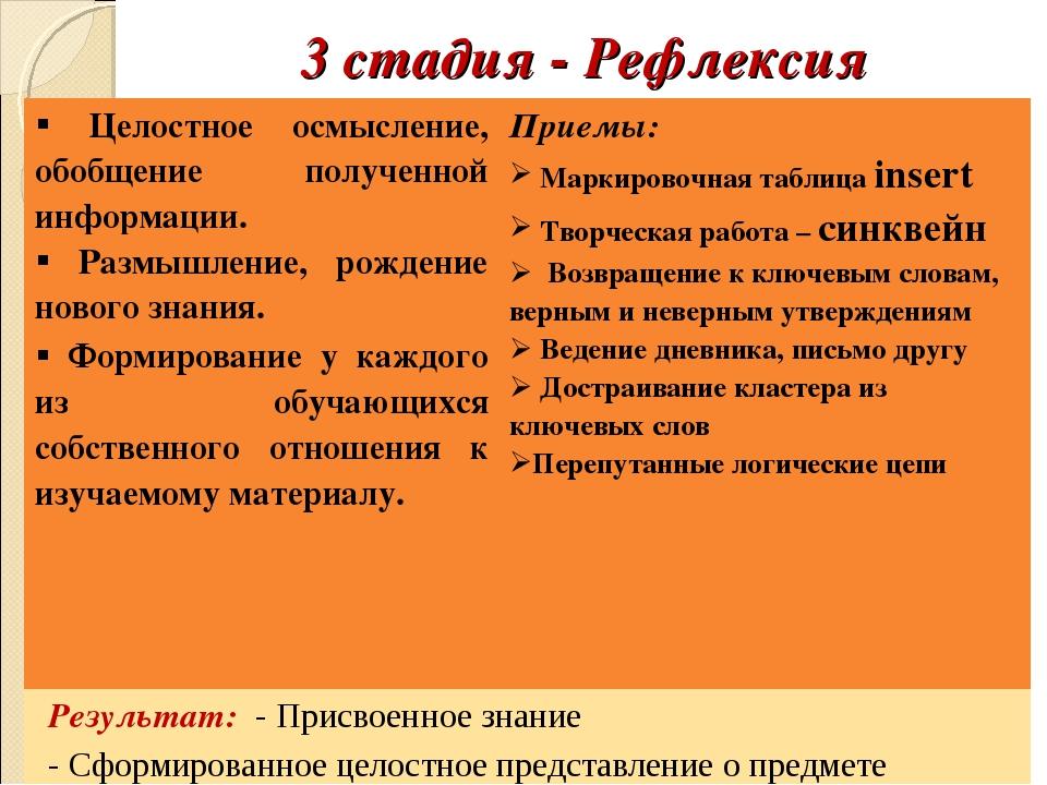 3 стадия - Рефлексия Целостное осмысление, обобщение полученной информации.П...