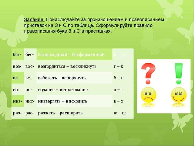 Задание: Понаблюдайте за произношением и правописанием приставок на З и С по...