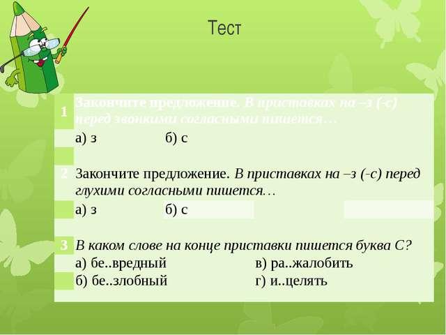 Тест 1 Закончите предложение.В приставках на –з (-с) перед звонкими согласным...
