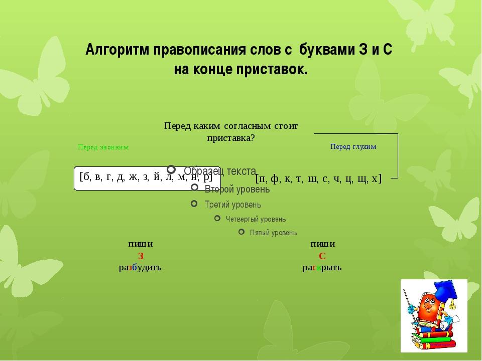 Алгоритм правописания слов с буквами З и С на конце приставок.