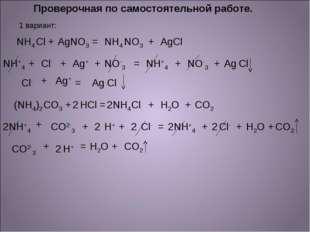 Проверочная по самостоятельной работе. 1 вариант: NH4 Cl + Ag NO3 = NH4 NO3 +