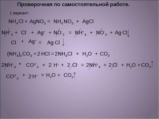 Проверочная по самостоятельной работе. 1 вариант: NH4 Cl + Ag NO3 = NH4 NO3 +...
