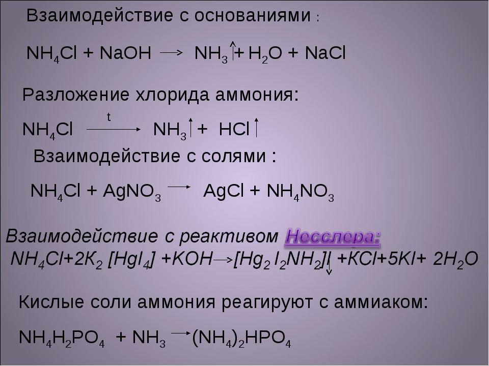 Взаимодействие с солями : NH4Cl + AgNO3 AgCl + NH4NO3 Разложение хлорида амм...