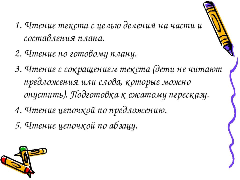1. Чтение текста с целью деления на части и составления плана. 2. Чтение по г...