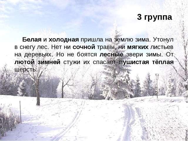 3 группа Белая и холодная пришла на землю зима. Утонул в снегу лес. Нет ни со...
