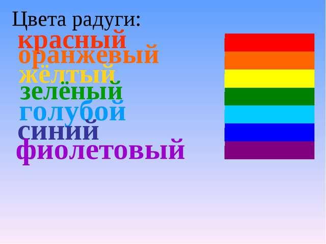 Цвета радуги: красный оранжевый жёлтый зелёный голубой синий фиолетовый