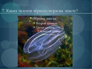 7. Каких экзотов чёрного моря вы знаете?