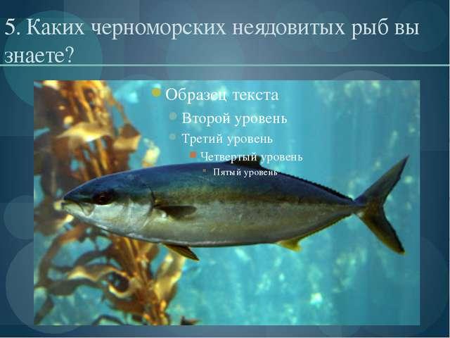 5. Каких черноморских неядовитых рыб вы знаете?