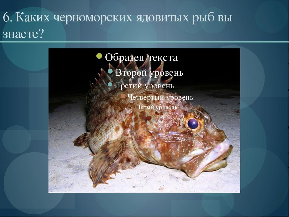 6. Каких черноморских ядовитых рыб вы знаете?