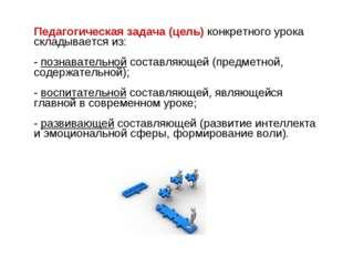 Педагогическая задача (цель) конкретного урока складывается из: - познавател