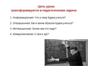 Цель урока трансформируется в педагогические задачи: 1. Информационная: Что