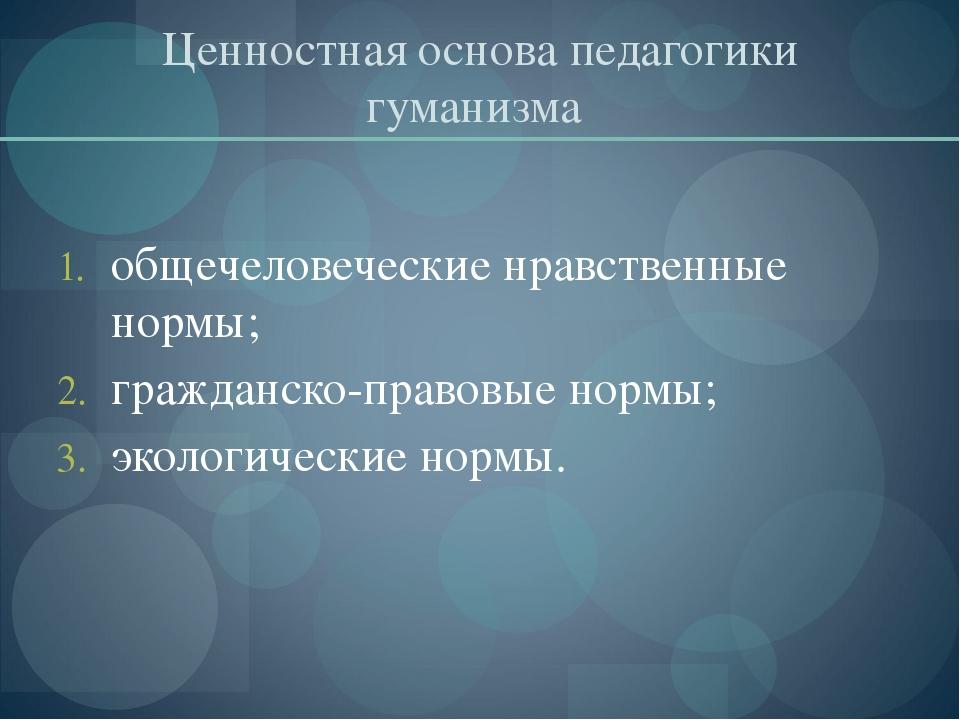 Ценностная основа педагогики гуманизма общечеловеческие нравственные нормы; г...