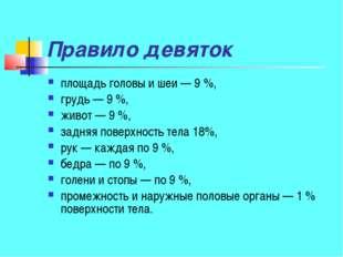 Правило девяток площадь головы и шеи— 9%, грудь— 9%, живот— 9%, задняя