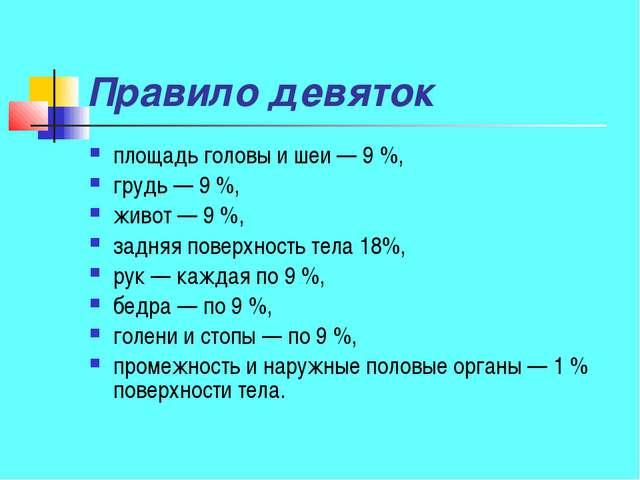 Правило девяток площадь головы и шеи— 9%, грудь— 9%, живот— 9%, задняя...