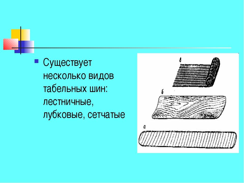Существует несколько видов табельных шин: лестничные, лубковые, сетчатые