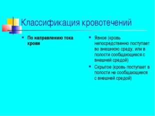 Классификация кровотечений По направлению тока крови Явное (кровь непосредств
