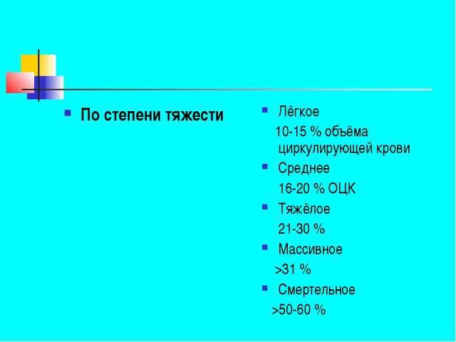 По степени тяжести Лёгкое 10-15% объёма циркулирующей крови Среднее 16-20%...