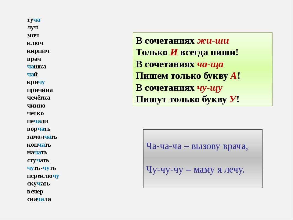 В сочетаниях жи-ши Только И всегда пиши! В сочетаниях ча-ща Пишем только букв...