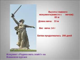 Высота главного монумента(вместе с мечом): 85 м Длина меча: 33 м Вес меча: 1