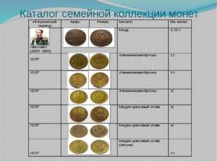 Каталог семейной коллекции монет