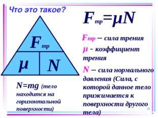 Что это такое? * Fтр=µN Fтр – сила трения µ - коэффициент трения N – сила нор