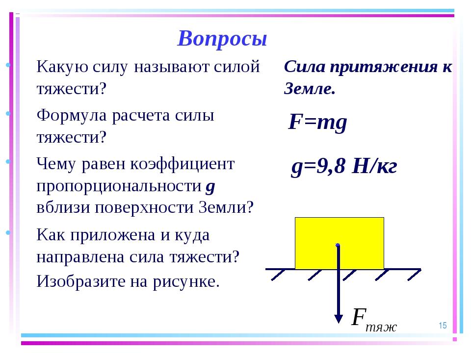 * Вопросы Какую силу называют силой тяжести? Формула расчета силы тяжести? Че...