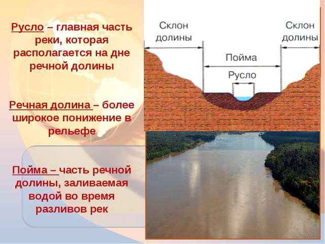* Русло – главная часть реки, которая располагается на дне речной долины Речн...