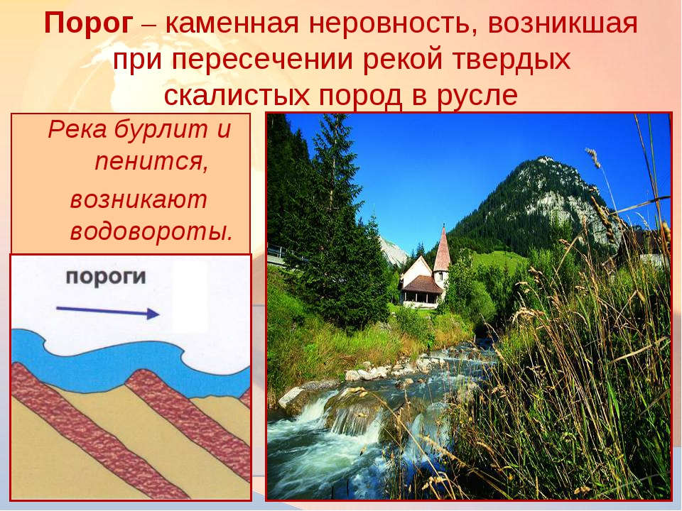 Река бурлит и пенится, возникают водовороты. Порог – каменная неровность, воз...