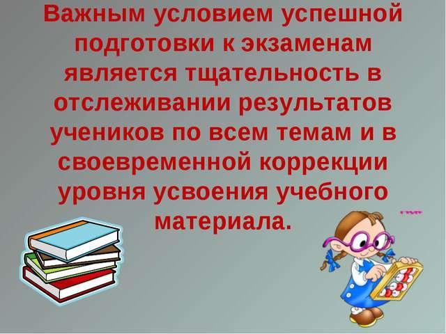 Важным условием успешной подготовки к экзаменам является тщательность в отсл...
