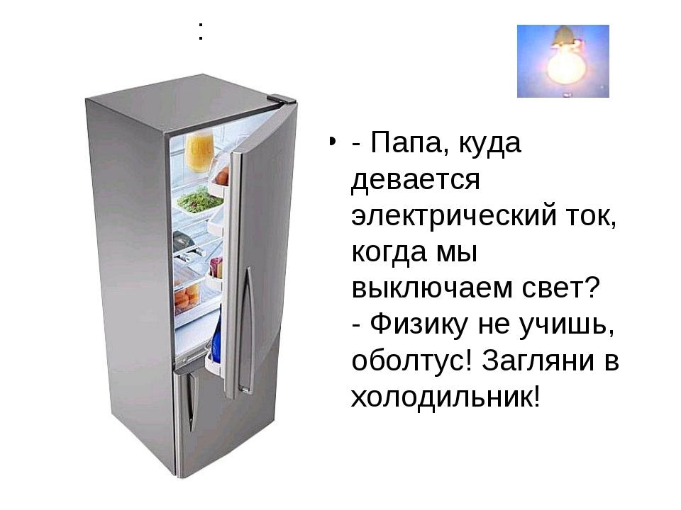 : - Папа, куда девается электрический ток, когда мы выключаем свет? - Физику...