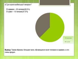 6.Где носите мобильный телефон?  В кармане – 25 человек(62,5%) В сумке – 15