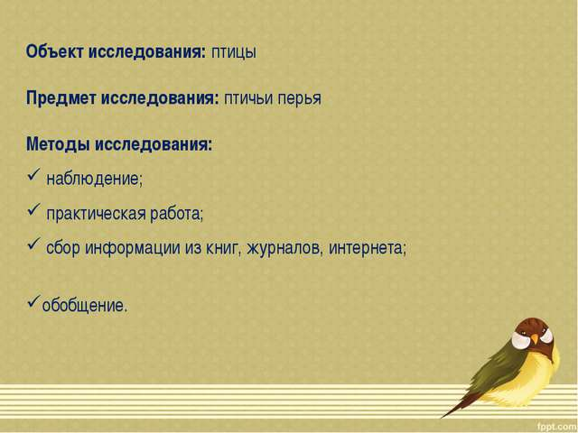 Объект исследования: птицы Предмет исследования: птичьи перья Методы исследов...