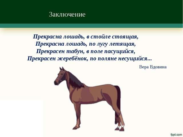Заключение Прекрасна лошадь, в стойле стоящая, Прекрасна лошадь, по лугу летя...