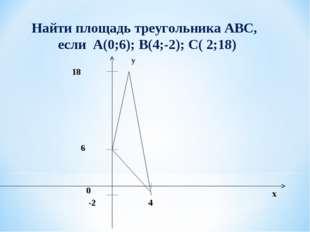 Найти площадь треугольника АВС, если А(0;6); B(4;-2); C( 2;18)