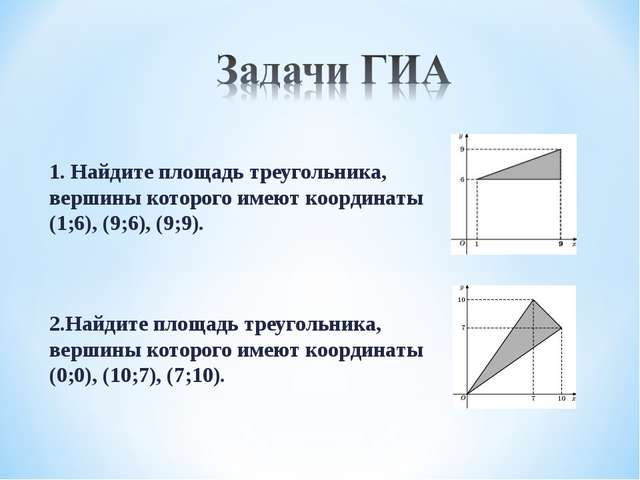 1. Найдите площадь треугольника, вершины которого имеют координаты (1;6), (9;...