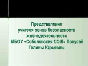 Представление учителя основ безопасности жизнедеятельности МБОУ «Соболевская
