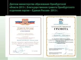 Диплом министерства образования Оренбургской области 2013 г, Благодарственная